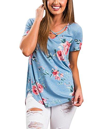 Corta Camicia Slim Elegante T Manica Blouses Blusa con Scollo Shirt Tops Camicie Estivo Lacci Blu V Classico Donna Casual Maglietta xq8IF6x