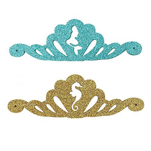 SIFAN Mermaid Party Tiaras, 12pcs Glitter Gold Seahorse Under the Sea Themed Birthday Hats for Party Decorations by SIFAN