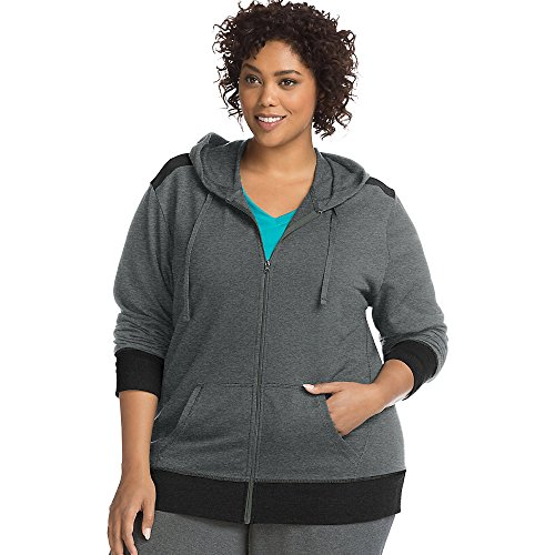 (Just My Size Women's Plus Size Active French Terry Full-Zip Hoodie, Granite Heather/Black 2X)