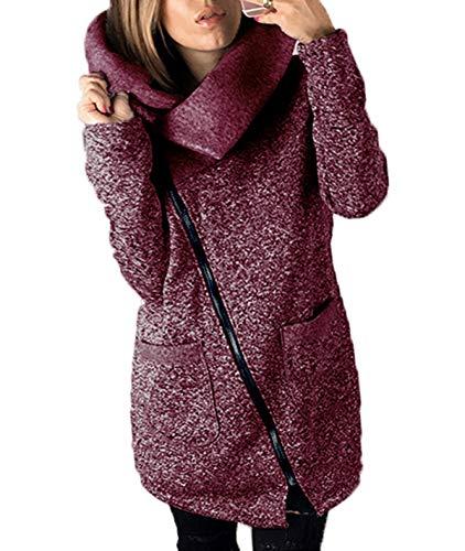 Cime Fucsia Manica Casual Giubbotto Inverno fashion Simple Trench Moda Donne Lunga Giacche Soprabito Giovane Giacca Autunno Cappotto Jacket E Coat Outerwear Parka Tops A1ZBx4q