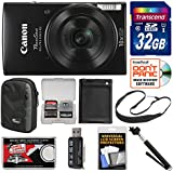 Canon PowerShot Elph 190 IS Wi-Fi Digital Camera (Black) with 32GB Card + Case + Battery + Selfie Stick + Sling Strap + Kit
