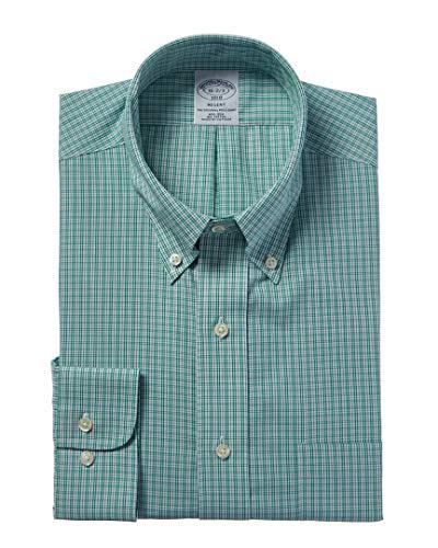 Brooks Brothers Mens 1818 Regent Fit Dress Shirt, 16.34/35, Green