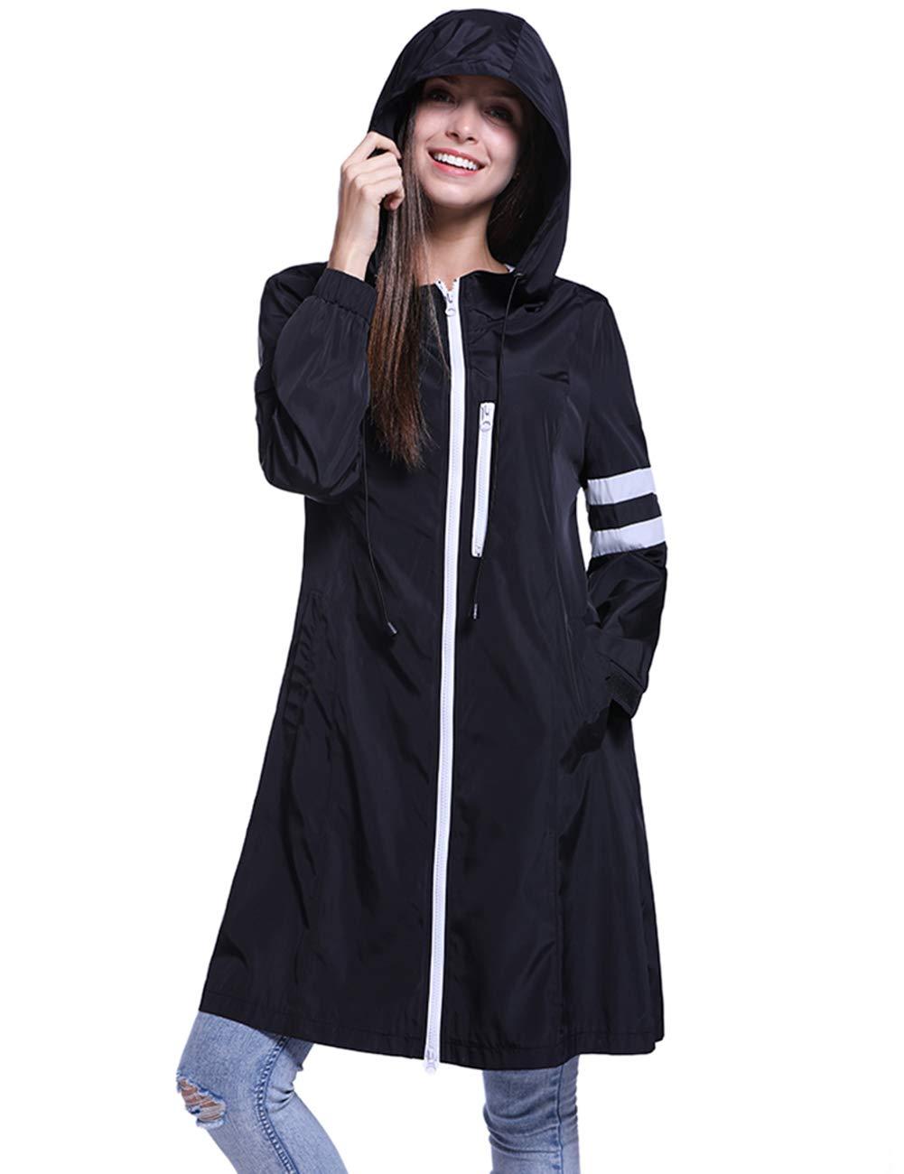 Fancyqube Women's Lightweight Packable Active Outdoor Rain Jacket Hooded Waterproof Breathable Raincoat Black L