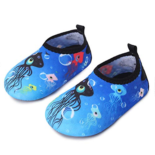 JIASUQI Outdoor Sports Swim Sand Aqua Water Shoes for Baby Boys Girls Blue Octopus 12-18 Months