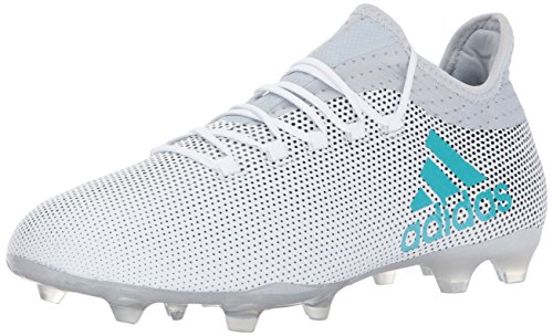 adidas Men's X 17.2 Firm Ground Cleats Soccer Shoe, White/Energy Blue/Clear Grey, (6.5 M US)
