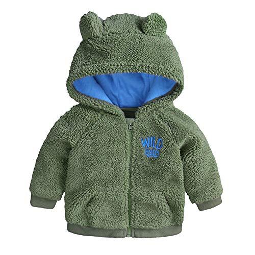 Baby Fleece Jacket – Baby Jongens Meisjes Oren Hoed met Gevoerde Hooded Rits Up Jas Tops Outwear Overjas Warm Herfst