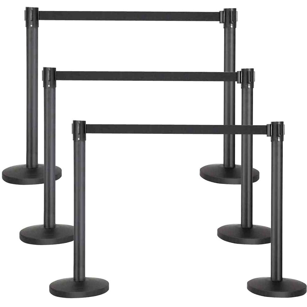 GU2BUY Black Stanchion Set, 6pcs 36.2 Inches H Stanchions Crowd Control Stanchion with 6.5 FT Retractable Belt by go2buy