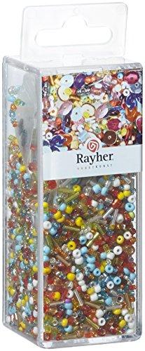 RAYHER - 24086000 - Pailletten-,Glasperlenmix und Draht, 90g Mix u. Draht 50m x 0,3mm