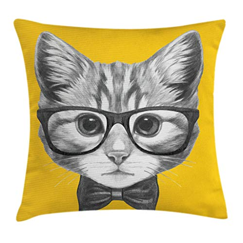 Ambesonne Animal Throw Pillow Cushion Cover, Sketchy Hand Drawn Design Baby Hipster Cat Cute Kitten with Glasses Image Print, Decorative Square Accent Pillow Case, 18 X 18 Inches, Grey Mustard