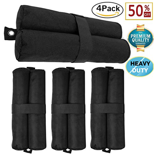 4 Pack-Pop Up Canopy Weight Bags for Instant Legs, Sand bags for Canopy Tent, Fit All Umbrellas Shelter, Potable&Windproof | Heavy Duty 1680D Thick Oxford Fabric-Holds 30-35 Lbs Capacity Per Bag