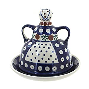 Blue Rose Polish Pottery Nature Small Cheese Lady