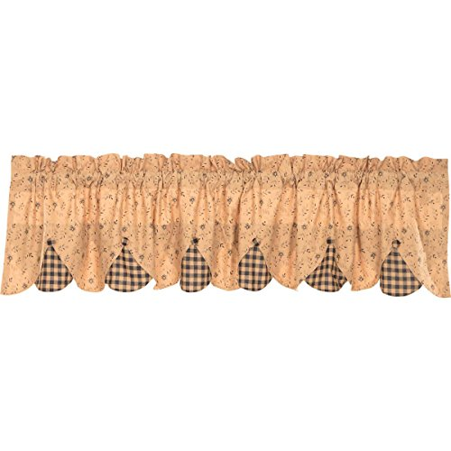 VHC Brands Natural Tan Primitive Classic Country Curtains Maisie Lined Valance, 18 L x 72 W, ()