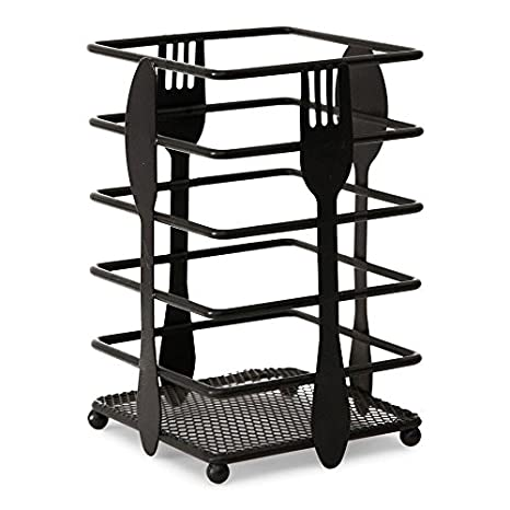 Elm Cove Upright Kitchen Utensil Holder - Black Metal with Classic,  Timeless Design - Store Large Cutlery and Utensils for Parties or Everyday  Use
