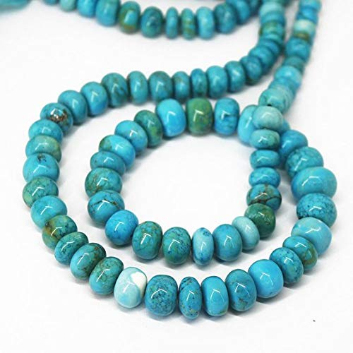 Beads Bazar Natural Beautiful jewellery Natural Turquoise Smooth Gemstone Rondelle Gemstone Loose Craft Beads Strand 18