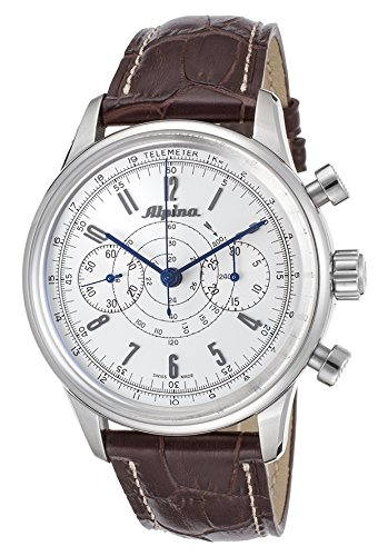 Heritage Chronograph (Alpina 130 Heritage Pilot Chronograph Automatic Stainless Steel Mens Strap Watch AL)