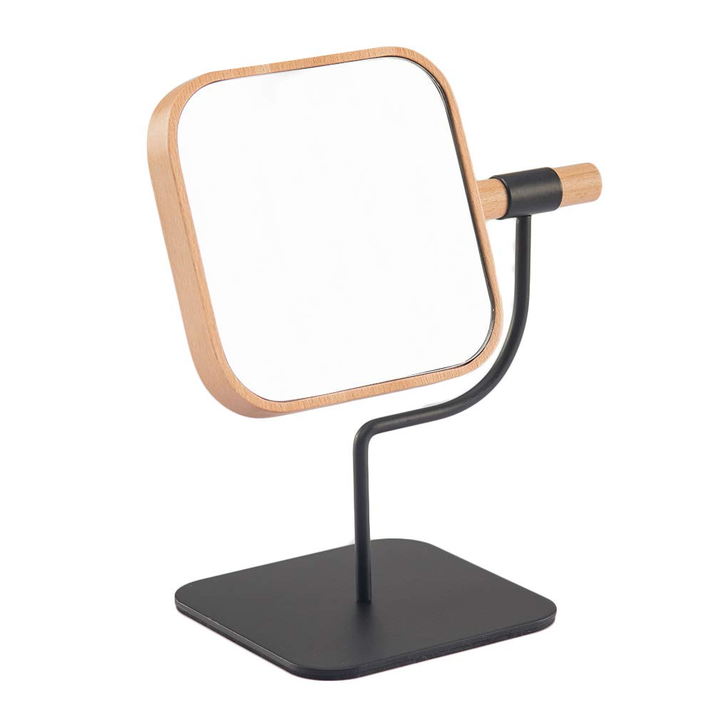 YEAKE Makeup Desk Mirror Wooden Metal Bracket Cosmetic Vanity Mirror,360 Rotation 3X Magnification Countertop Mirror for Makeup 04 Square