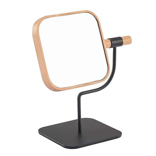 YEAKE Makeup Desk Mirror Wooden &Metal Bracket Cosmetic Vanity Mirror,360°Rotation 3X Magnification Countertop Mirror for Makeup 04 Square