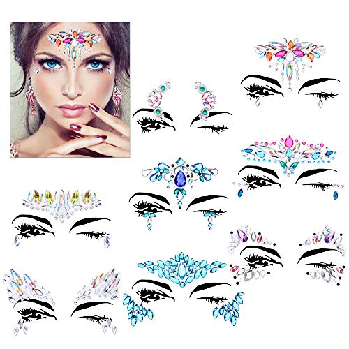 Face Gems Set(8Pack),Konsait Face Jewels Rhinestone Bindis Crystal Tears Gem Temporary Tattoo Glitter Stickers Mermaid…