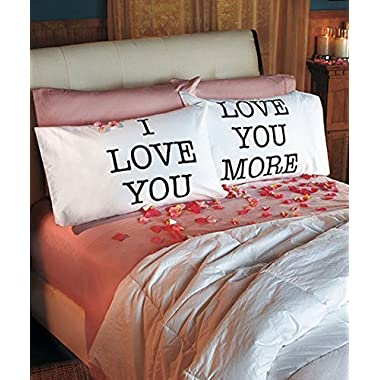 I Love You & Love You More Cotton Polyester Standard Size Pillowcase Pair for Bedroom, Home Decoration Set, Anniversary Valentine's Day Gift by Super Z Outlet®