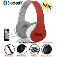 iTrak Wireless Bluetooth Headphone; Over Ear; Foldable; Noise Canceling; Audio Streaming & Call Microphone + USB Charging & Aux In Cable BTH024RMO - Red