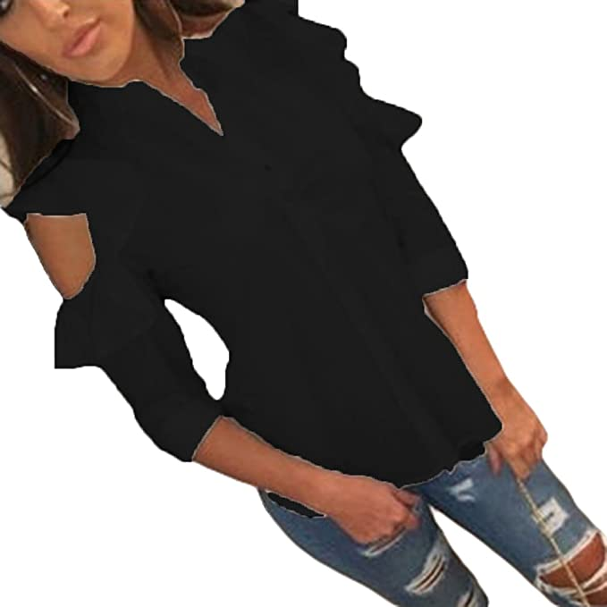 juqilu Chifón Camisas Mujeres V Escote Manga Larga Blusas Blusa Camisa Holgada de Color Sólido Camisa de Verano Informal Suave Cómodo: Amazon.es: Ropa y ...