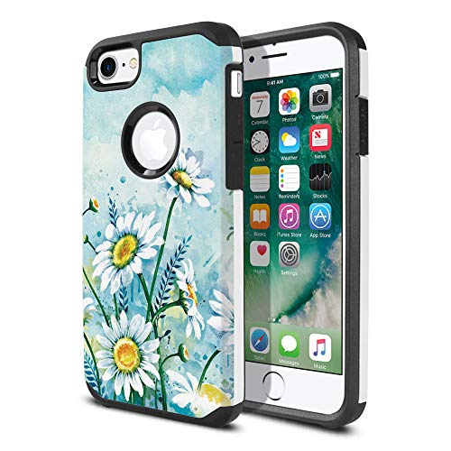 FINCIBO Case Compatible with Apple iPhone 7 2016 / iPhone 8 2017 4.7 inch, Dual Layer Hard Back Hybrid Protector Case Cover Anti Shock TPU for iPhone 7/8 (NOT FIT 7 Plus, 8 Plus) - Daisies Flowers