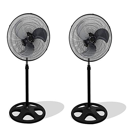 "SET of 2 Industrial | Commercial Strength Stand Fan 18"" 110V 3 Speed Level Adjustable Height Quiet Energy Efficient Oscillating Office Bedroom Warehouse - Aluminum Blades For Extra Power"