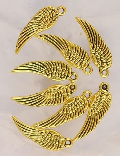 (24 Gold Tone Metal Wing Charms C 5 Crafting Key Chain Bracelet Necklace Jewelry Accessories Pendants )