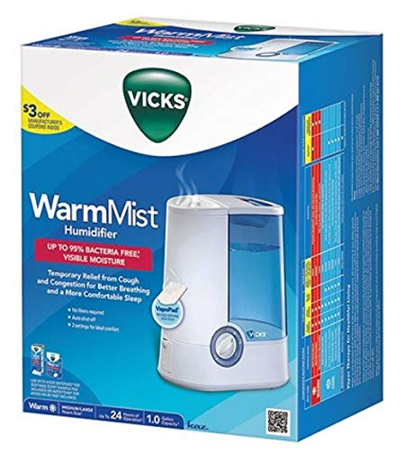 Warm Mist Humidifier, Humidifier for Bedrooms, Baby, Kids Rooms, 1 Gallon, Auto Shut-Off, Filter-Free, 24 Hrs of Moisturized Air, use with VapoSteam for Medicated Steam, Model V745A (24 Hour Model)
