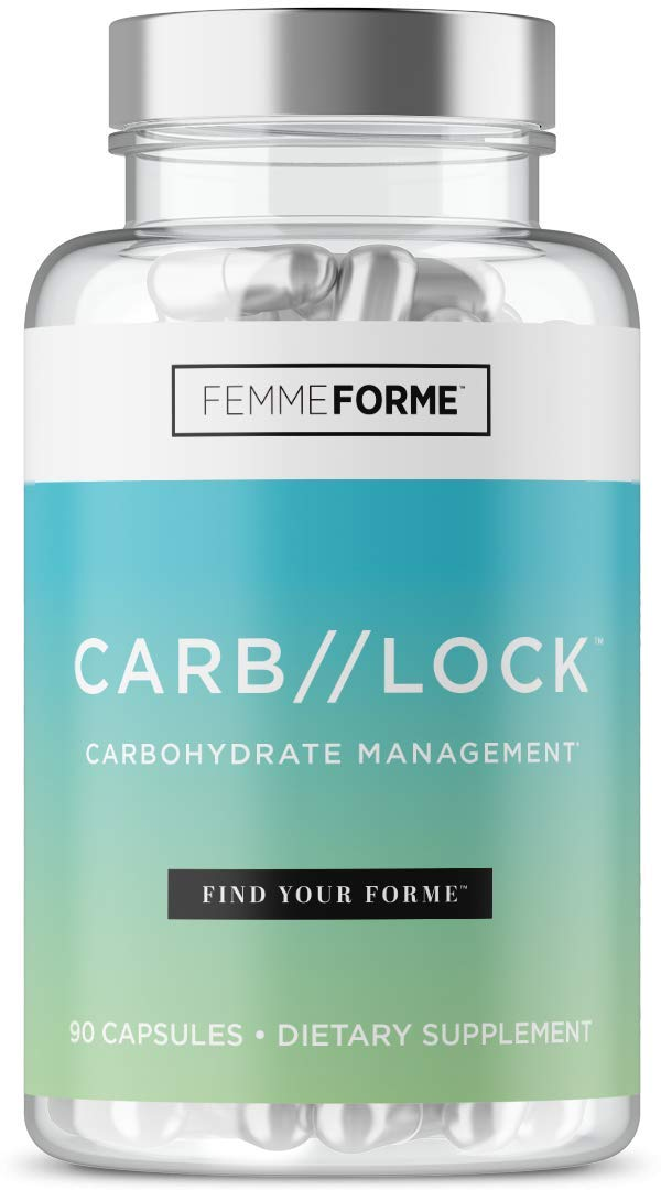 CARB Lock Carb Blocker for Women: Stimulant and Caffeine Free Diet Pills to Block Carbohydrate Absorption - Healthy Blood Sugar Support Supplement with Garcinia Cambogia and Banaba, 90 Capsules by Femme Forme