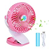 pink desk clip fan - USB Clip Desk Personal Fan - Battery Operated with Rechargeable 2800mAh Battery & USB Cable 360°Rotation,Adjustable Speed.Cooling Portable Mini Fan for Baby Stroller,Office,Gym,Travel(Pink, 1 Pack)