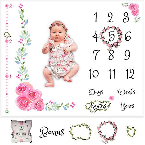- Baby Monthly Milestone Blanket for Girl | Growth Height Tracker | Soft Large Backdrop | Bonus Floral Wreath & Garland | Best Baby Shower Gift for New Mom | Newborn Photo Memory Templates for Stickers