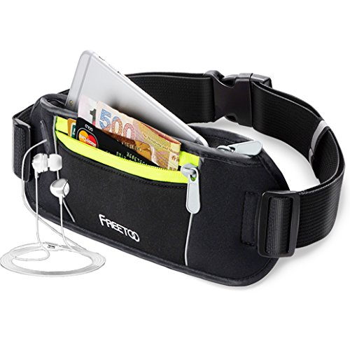 [Sport Hüfttasche] FREETOO Gürteltasche mit 2 Fächer Bauchtasche Schwarz mit Kopfhöreröffnung geeignet für IPhone 6s Plus zum Sport entwickel