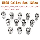 12pcs ER25 Chuck Collet 1/8 to 5/8 Inch Spring Collet Set For CNC Milling Lathe Tool