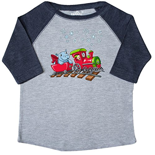 inktastic Christmas Hippopotamus On Toddler T-Shirt 3T Heather and Navy 2d76f