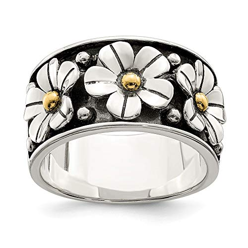 925 Sterling Silver 14k Gold Centers Daisy Band Ring Size 6.00 Flowers/leaf Fine Jewelry Gifts For Women For Her