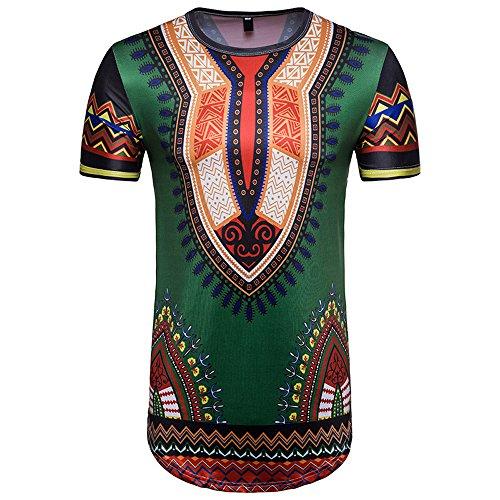 Serzul Men's Summer Casual African Print O Neck Pullover Short Sleeve T-Shirt Blouse Top (2XL, F) from Suzul_Men's Fashion