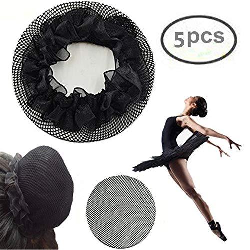 KKTech Women Ballet Dance Skating Bun Cover Elastic Band Hair Nets for Dancer (5pcs)(black)
