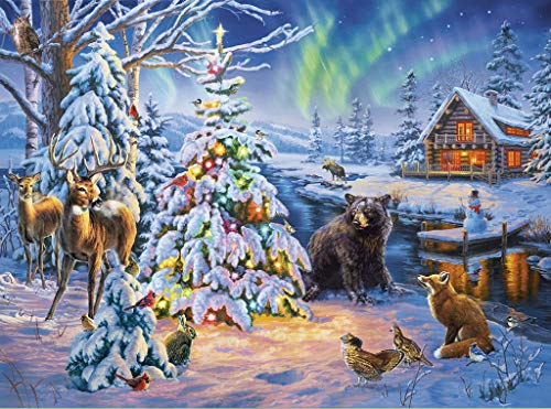 "DIY Handwork Store 5D DIY Crystal Diamond Paintings Full Square Animals Bear Deer Fox Rabbit Bird Winter Christmas Landscape Kits Decoration Home-[19.7""15.7""]"