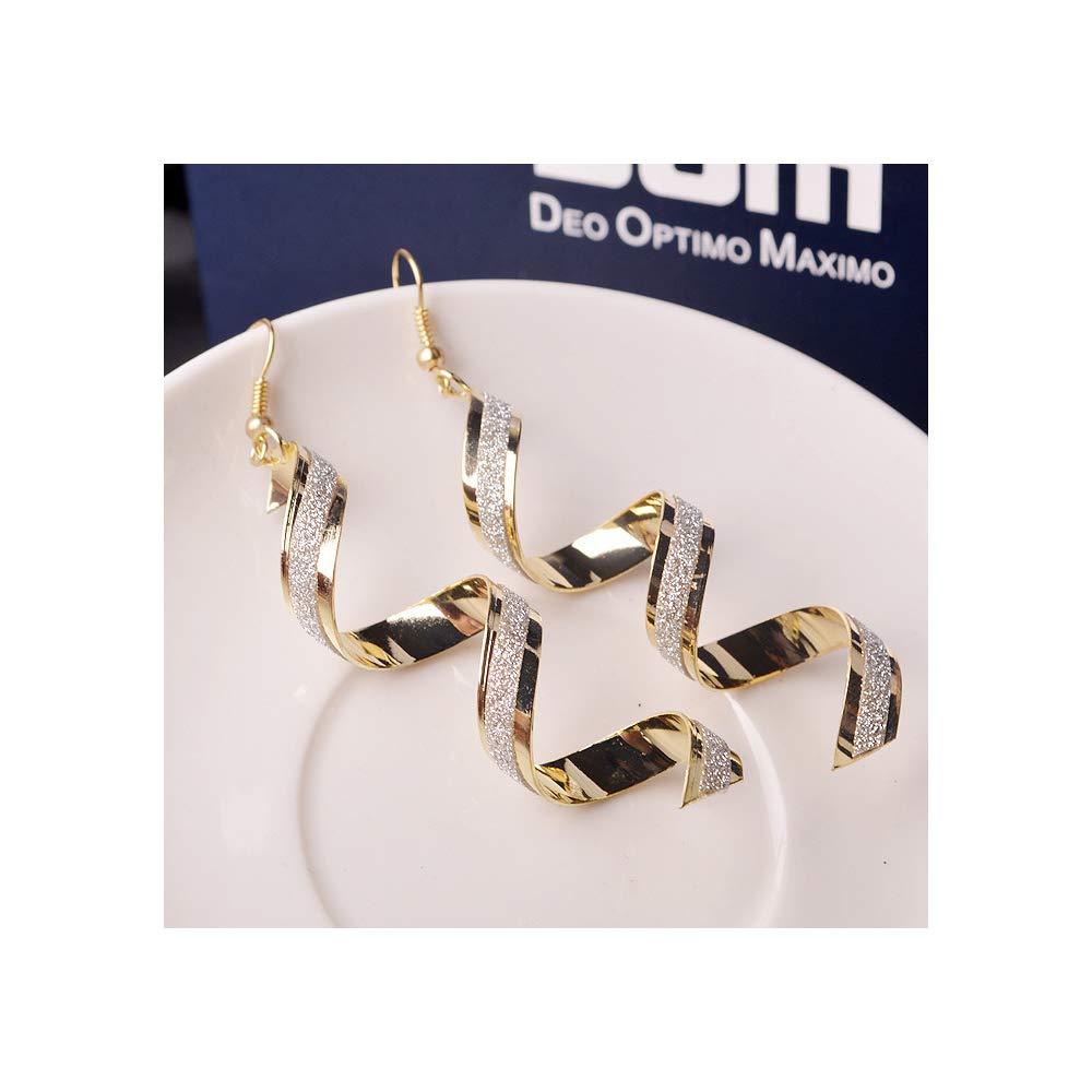 J MENG Twisted Spiral Earrings Metal Dangle Hook Earrings Women Girls