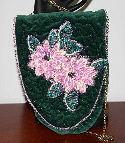 Hand Beaded Purse Lavender Flowers on Green Velour ()