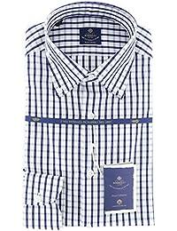 New Luigi Borrelli Navy Blue Check Extra Slim Shirt