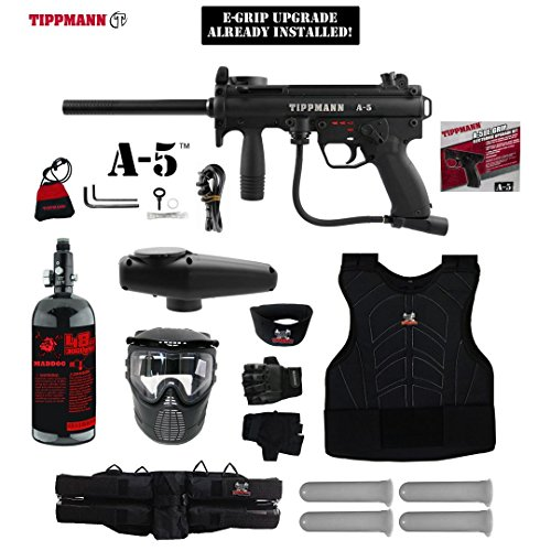 MAddog Tippmann A5 A-5 w/Selector Switch E-Grip Starter Protective HPA Paintball Gun Package - Black
