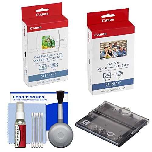 Canon PCC-CP400 Card Size Cassette for Selphy CP CP1200 CP1300 Printers with KC-36IP 36 Color Ink Paper & KC-18IS 18 Label Sticker Set + Cleaning Kit