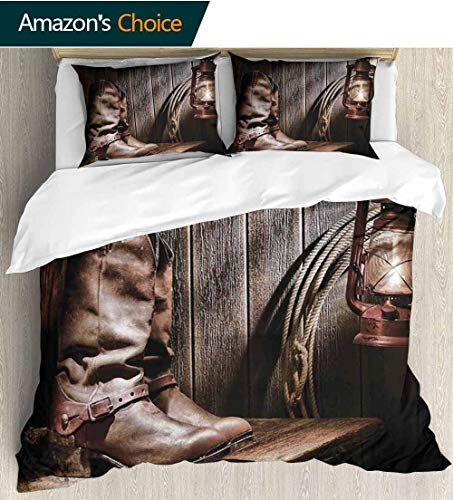 (Western Home Duvet Cover Set,Dallas Cowboys and Lantern on a Bench in Vintage Ranch Nostalgic Folkloric Photograph Print Quilt Cover Set White Queen Pattern Bedding Collection 87
