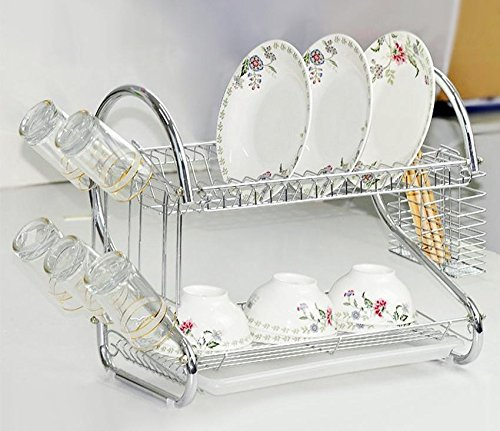 Dtemple Dish Drainer Rack 2 Tier Dish Drying Rack with Drain