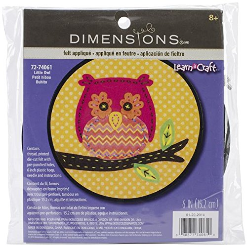 Dimensions Little Owl Felt Applique Kit Craft for Beginners, 6'' D from Dimensions