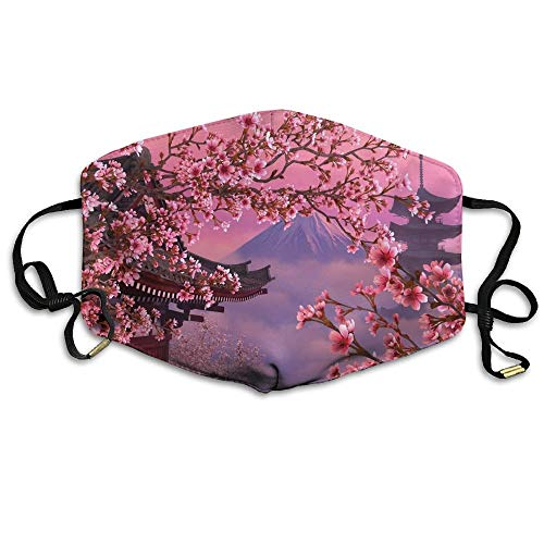 Uiowsbe Japanese Cherry Blossom Mt.Fuji Printed Mask Neutral Mask for Men and Women Polyester Dust-Proof Breathable Mask