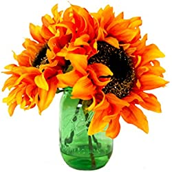 Creative Displays Sunflower Mason Jar Floral Arrangement, Orange