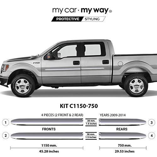 MY CAR MY WAY (Fits) Ford F150 2009-2014 5.5′ Box Supercrew Chrome Body Side Molding Cover Trim Door Protector